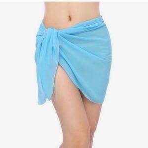 Royal blue mesh tie sarong bikini cover up skirt